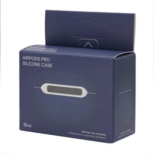 силиконовый чехол на airpods pro синий коробка