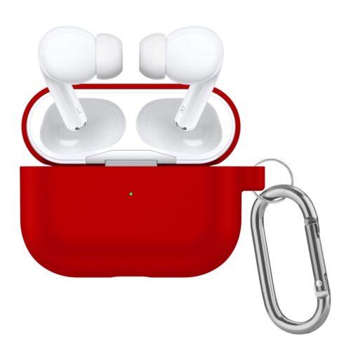 чехол для airpods pro с карабином красный