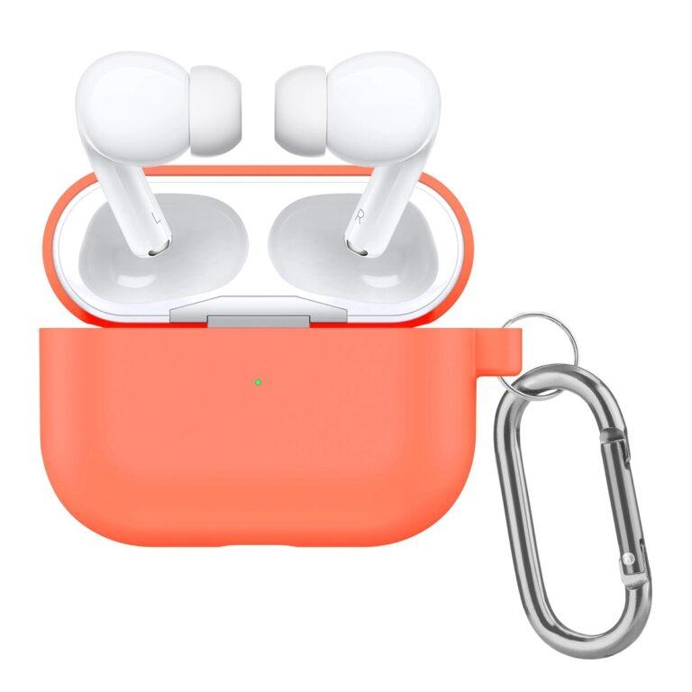 чехол для airpods pro с карабином оранжевый