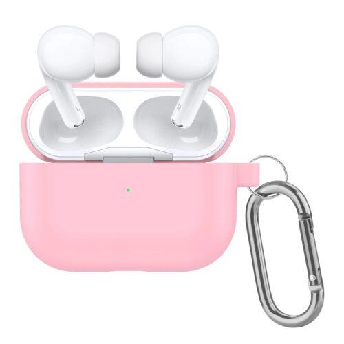 чехол для airpods pro с карабином розовый