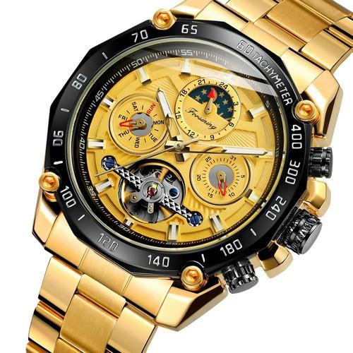 купить мужские часы Forsining 6913 Gold-Black-Gold