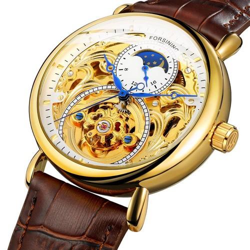 купить мужские часы Forsining 1125 Gold-Brown