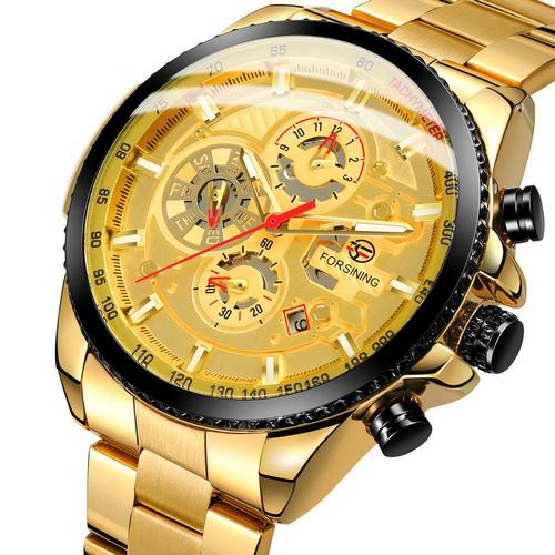 купить мужские часы Forsining 6909 Gold-Black-Gold