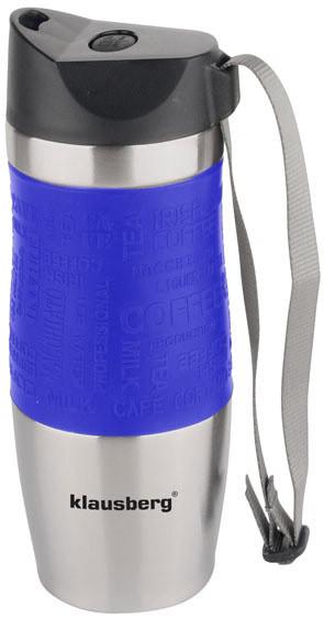 Термокружка Кlausberg КВ-7101 380мл. серебристо-синяя фото 1