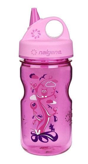 Бутылка для воды детская Nalgene Grip-n-Gulp розовая Woodland Art. 350 мл. фото 1