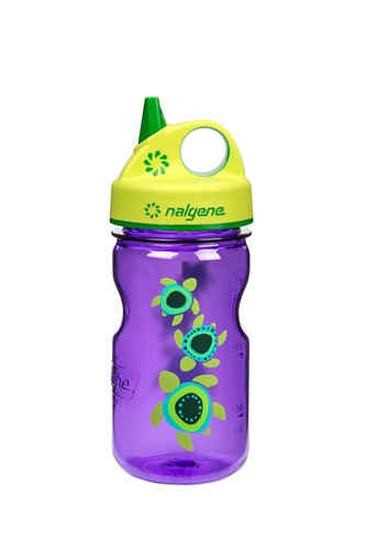 Бутылка для воды детская Nalgene Grip-n-Gulp фиолетовая Turtles Art. 350 мл. фото 1