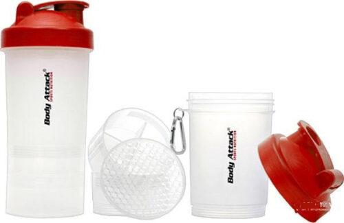 Шейкер спортивный Body Atack с 2-мя контейнерами прозрачно-красный фото 2
