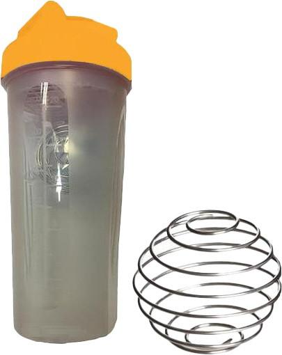 Шейкер спортивный Shake Bottle 700 мл. с венчиком прозрачно-оранжевый фото 1