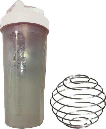 Шейкер спортивный Shake Bottle 700 мл. с венчиком прозрачно-белый фото 1