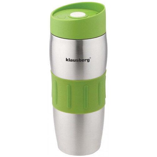 Термокружка Klausberg KB-7100 380мл. серебристо-зеленая фото 1