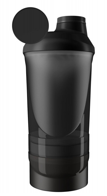 Шейкер спортивный ShakerStore Wave + с 2-мя контейнерами Черный фото 4