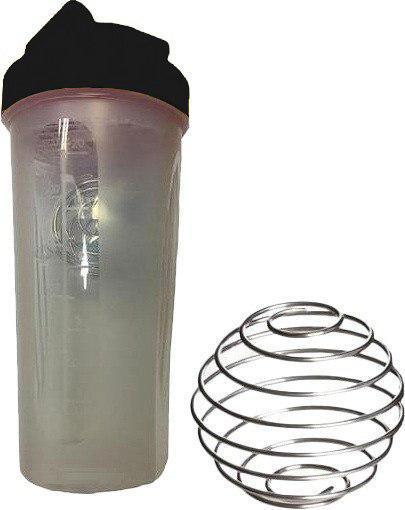 Шейкер спортивный Shake Bottle 700 мл. с венчиком прозрачно-черный фото 1
