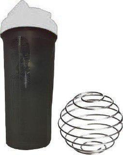 Шейкер спортивный Shake Bottle 700 мл. с венчиком черно-белый фото 1
