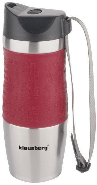 Термокружка Кlausberg КВ-7101 380мл. серебристо-красная фото 1