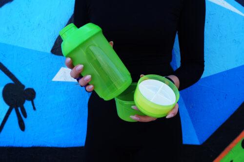 Шейкер спортивный ShakerStore Wave + с 2-мя контейнерами зеленый фото 3