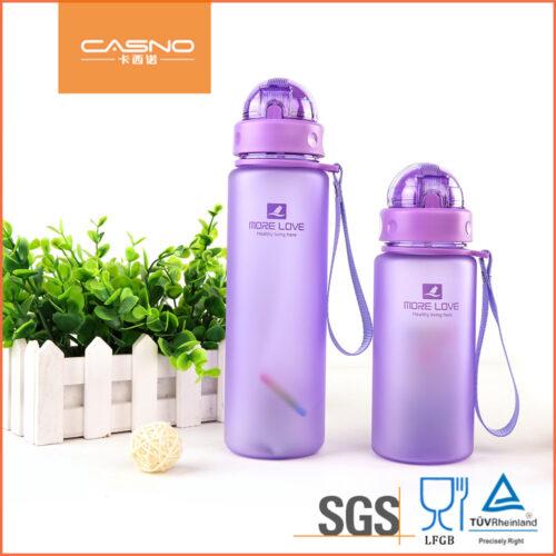 Пляшка для води CASNO 400 мл MX-5028 More Love Фіолетова з соломинкою фото 5