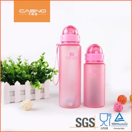 Пляшка для води CASNO 400 мл MX-5028 More Love Рожева з соломинкою фото 6