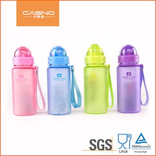 Пляшка для води CASNO 400 мл MX-5028 More Love Рожева з соломинкою фото 7
