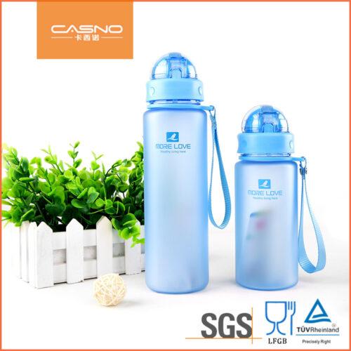Пляшка для води CASNO 400 мл MX-5028 More Love Блакитна з соломинкою фото 5