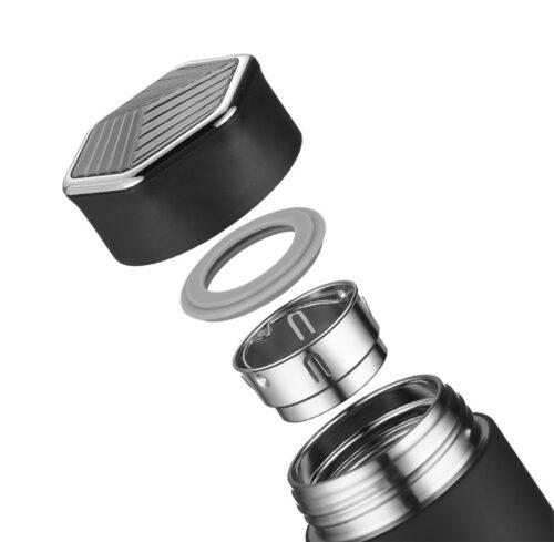 Термопляшка CASNO 450 мл KXN-6057 Чорна фото 2