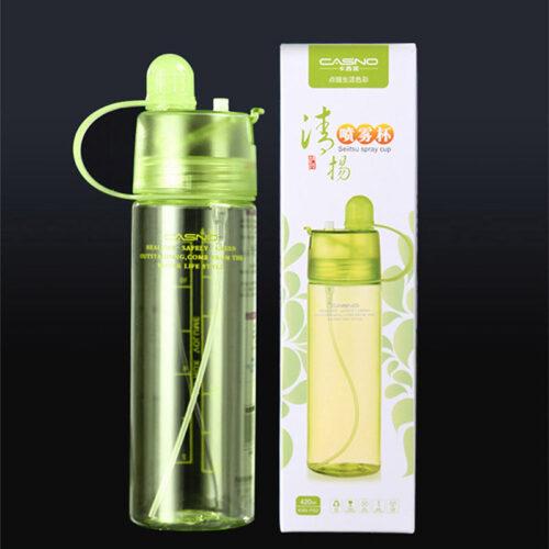 Пляшка для води CASNO 420 мл KXN-1151 Зелена з соломинкою фото 6