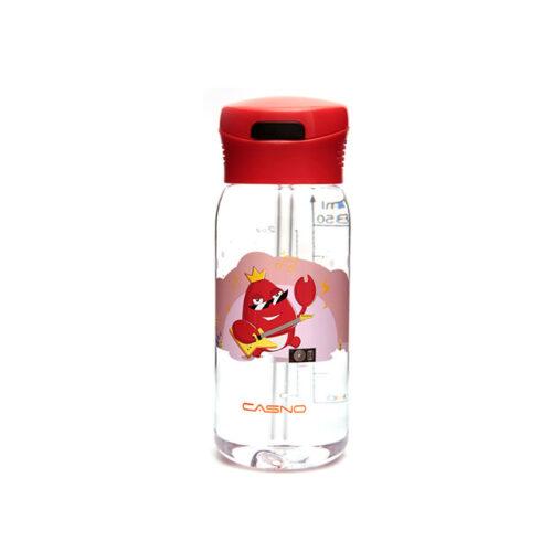Пляшка для води CASNO 400 мл KXN-1195 Червона (краб) з соломинкою фото 3