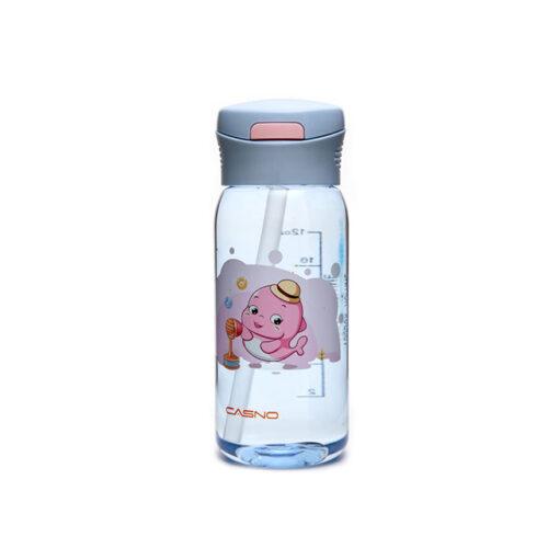 Пляшка для води CASNO 400 мл KXN-1195 Сіра (дельфін) з соломинкою фото 3