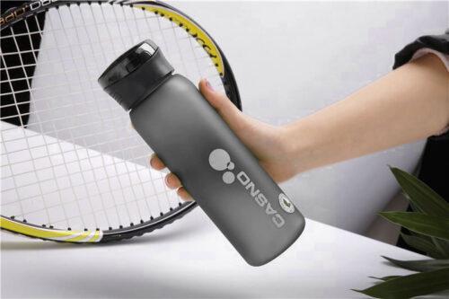 Пляшка для води CASNO 600 мл KXN-1196 Сіра з соломинкою фото 5