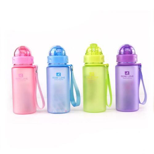Пляшка для води CASNO 400 мл MX-5028 More Love Блакитна з соломинкою фото 6