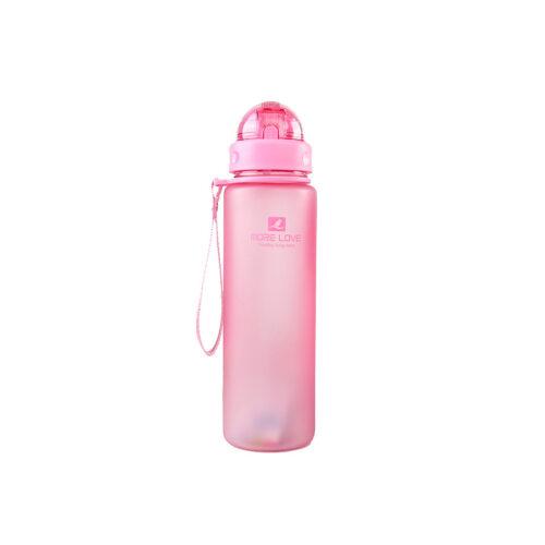 Пляшка для води CASNO 400 мл MX-5028 More Love Рожева з соломинкою фото 2
