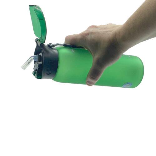 Пляшка для води CASNO 600 мл KXN-1196 Зелена з соломинкою фото 2