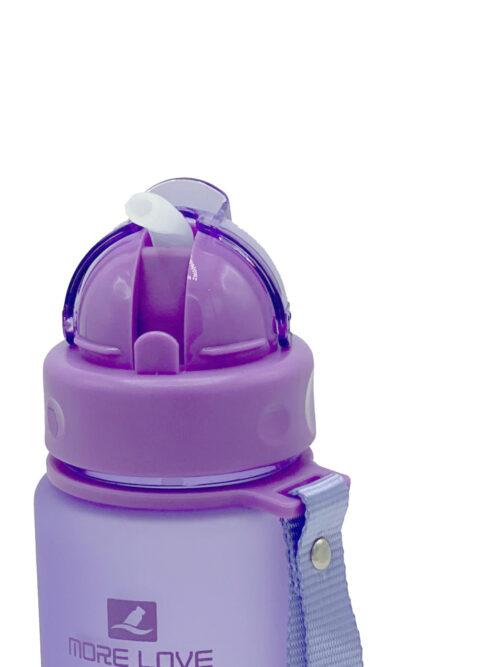 Пляшка для води CASNO 400 мл MX-5028 More Love Фіолетова з соломинкою фото 3