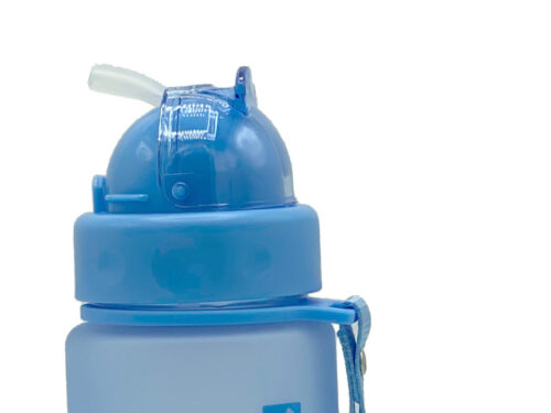 Пляшка для води CASNO 400 мл MX-5028 More Love Блакитна з соломинкою фото 3