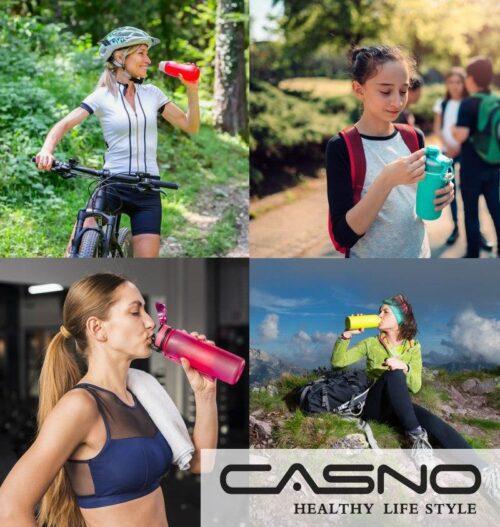 Пляшка для води CASNO 400 мл MX-5028 More Love Фіолетова з соломинкою фото 7