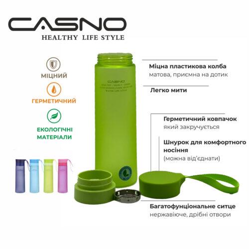 Пляшка для води CASNO 600 мл MX-5014 More Love Блакитна фото 4