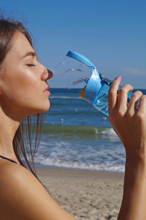 Пляшка для води CASNO 400 мл KXN-1195 Синя (восьминіг) з соломинкою фото 6