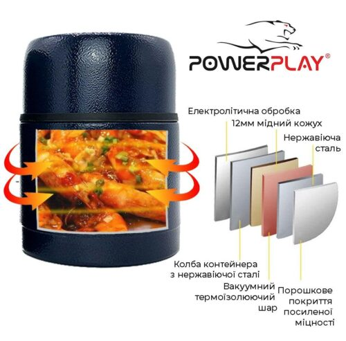 Термос харчовий PowerPlay 9003 Синій 500 мл фото 5