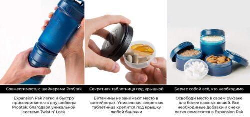 Контейнер спортивный BlenderBottle Expansion Pak Clear/Orange (ORIGINAL) фото 4