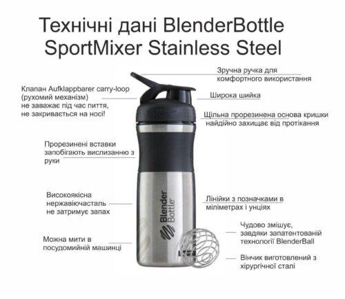 Спортивная бутылка-шейкер BlenderBottle SportMixer Stainless Steel Teal 820ml (из нержавеющей пищевой cтали) фото 7