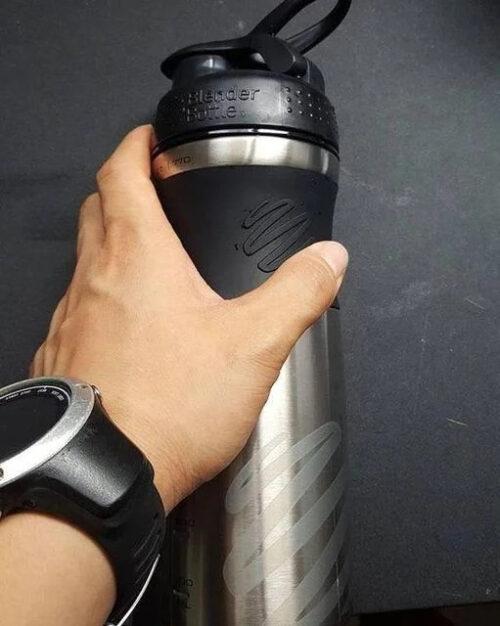 Спортивная бутылка-шейкер BlenderBottle SportMixer Stainless Steel Black 820ml (из нержавеющей пищевой cтали) фото 3