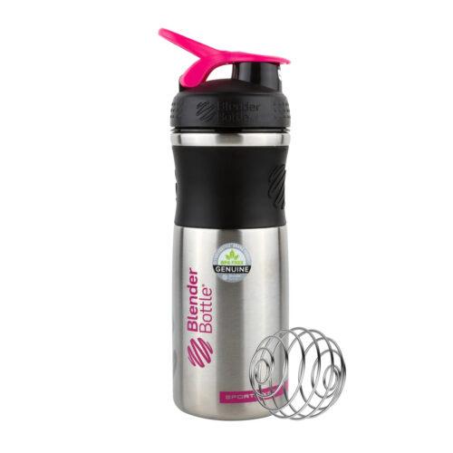 Спортивная бутылка-шейкер BlenderBottle SportMixer Stainless Steel Pink 28oz/820ml (из нержавеющей пищевой фото 1