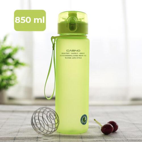 Пляшка для води CASNO 850 мл KXN-1183 Зелена + металевий вінчик фото 1