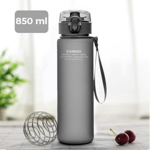 Пляшка для води CASNO 850 мл KXN-1183 Сіра + металевий вінчик фото 1