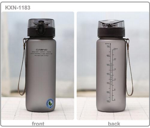 Пляшка для води CASNO 850 мл KXN-1183 Сіра + металевий вінчик фото 4