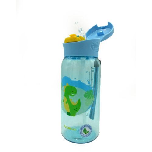 Пляшка для води CASNO 400 мл KXN-1195 Блакитна (Діно) з соломинкою фото 4