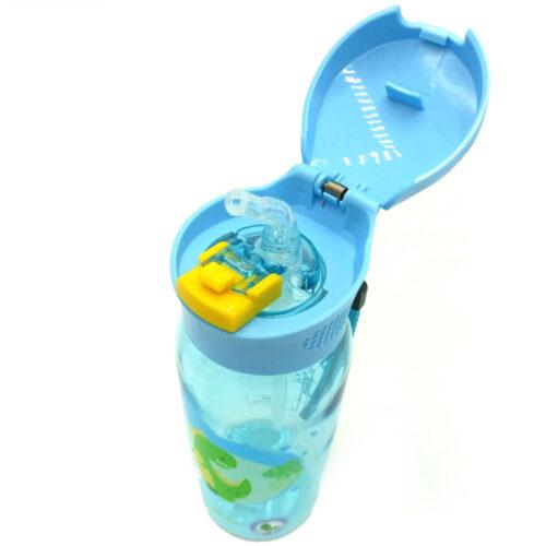 Пляшка для води CASNO 400 мл KXN-1195 Блакитна (Діно) з соломинкою фото 5