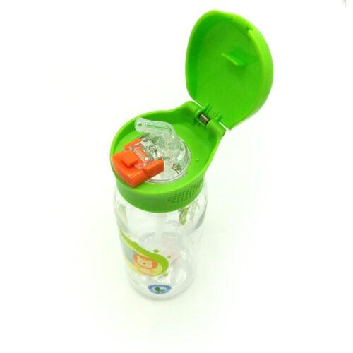 Пляшка для води CASNO 400 мл KXN-1195 Зелена (Малята-звірята) з соломинкою фото 4