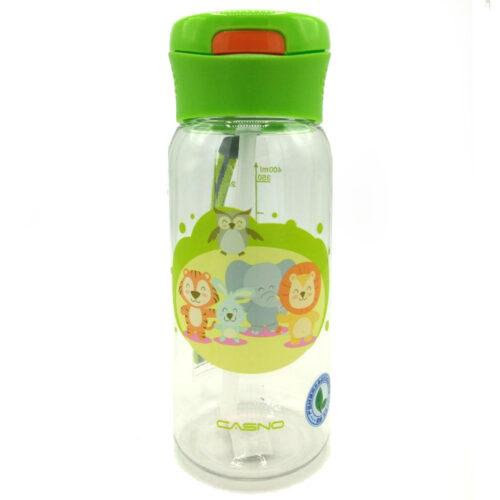 Пляшка для води CASNO 400 мл KXN-1195 Зелена (Малята-звірята) з соломинкою фото 3