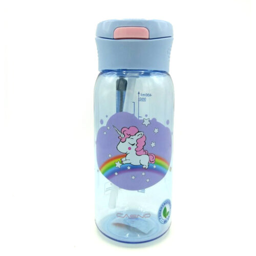 Пляшка для води CASNO 400 мл KXN-1195 Бузкова (Єдиноріг) з соломинкою фото 3