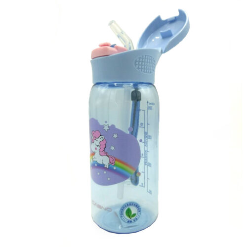 Пляшка для води CASNO 400 мл KXN-1195 Бузкова (Єдиноріг) з соломинкою фото 5